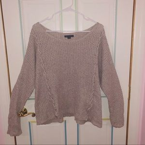 American Eagle Cropped Sweater Cross Lace-up Sides